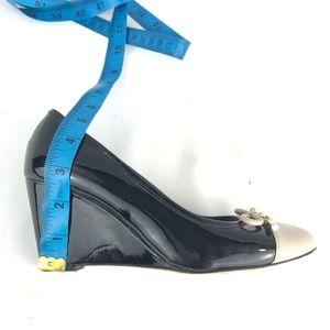 kate spade Shoes - Kate Spade NY Kacey Leather Wedge Pump Black White